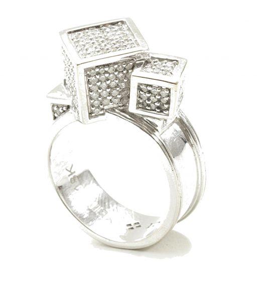 Fractality Cubes Diamond White Gold Ring