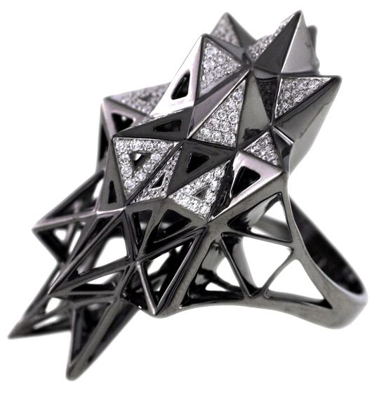 Black Stellated Star Diamond Gold Ring