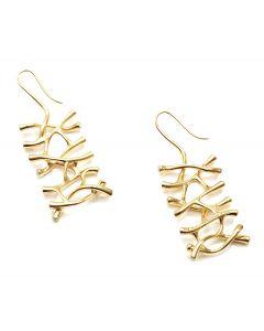 Web Diamond Dangle Gold Earrings