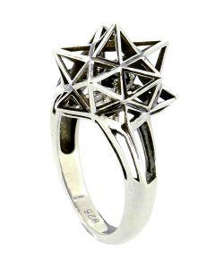 Framed Mini Sapphire Silver Ring