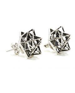 Framework Stud Silver Earring