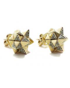 Tetra Diamond Gold Stud Earring