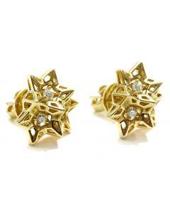 Tria Frame Diamond Gold Stud Earring