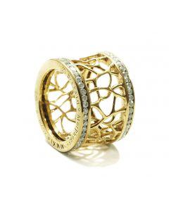 Web Frame Diamond Gold Ring