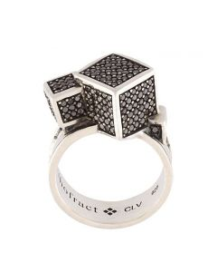 Fractality Black Sapphire Cubes Silver Ring