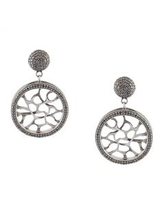 Webbed Black Diamond Silver Earrings