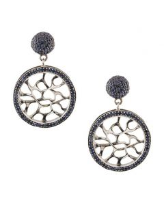 Webbed Sapphire Silver Earrings