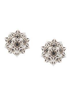 Flat Helix Frame Sapphire Stud Silver Earrings