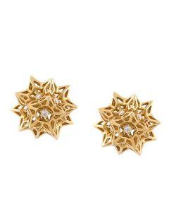 Flat Helix Frame Diamond Stud Gold Earrings