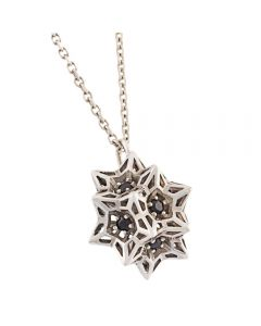 Helix Frame Sapphire Flatback Silver Necklace