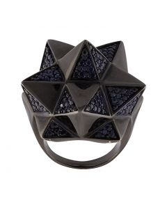 Tetra Partial Pave Sapphire Silver Ring