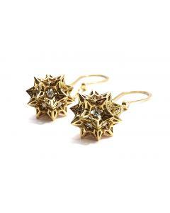 Helix Frame Diamond Gold Dangle Earrings