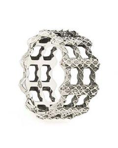 Singularity Molecule Three Silver Ring