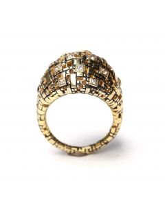 Wide Blockchain Diamond Gold Ring