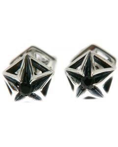 Pyramid Black Sapphire Stud Silver Earring