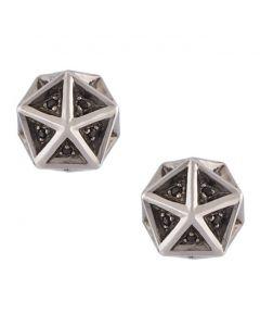 Icoso Black Sapphire Stud Silver Earrings
