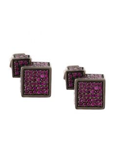 Fractality Cubes Ruby Stud Silver Earrings