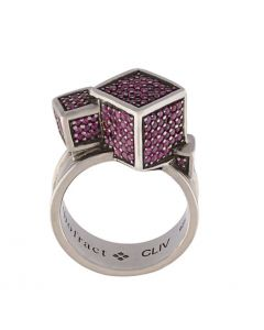 Fractality Ruby Cubes Silver Ring