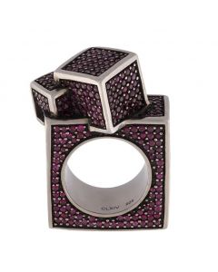 Fractality Square Ruby Silver Ring