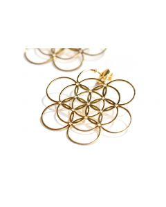 Spherical Diamond Gold Hoop Earrings