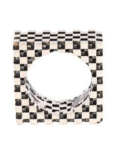 Ortho Square Checkers Silver Ring