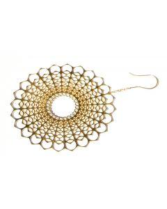 Spherical Diamond Gold Dangle Earrings