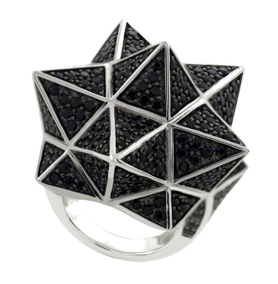 Tetra Full Pave Black Sapphire Silver Ring