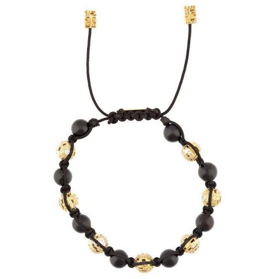 Bitcoin QR Sphere Diamond & Onyx Bead Bracelet