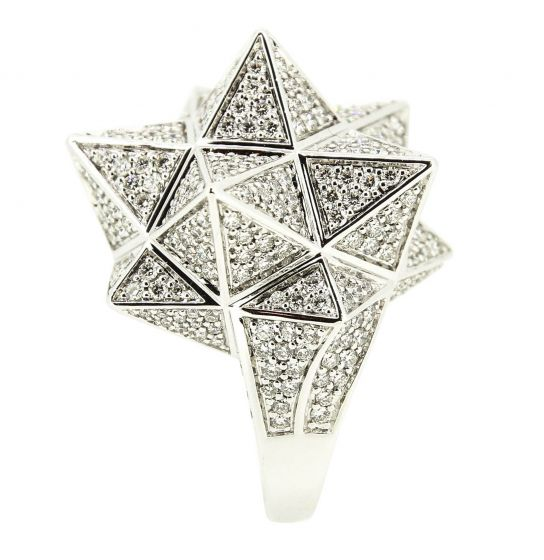 Tetra Full Pave Diamond White Gold Ring