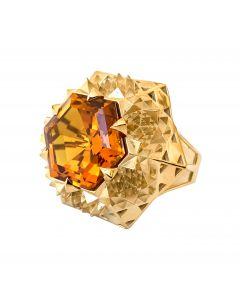 Gold Fractal Sun Ring
