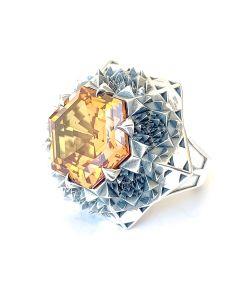Silver Fractal Sun Ring