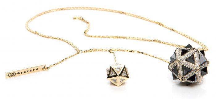 Icoso Diamond & Black Sapphire Gold Pendant