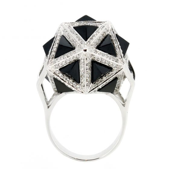 Icoso Diamond & Black Sapphire Gold Ring