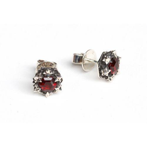 Thoscene Red Garnet Stud Earrings