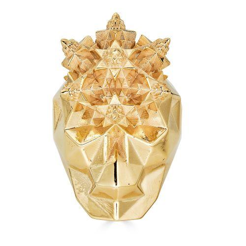 Gold Fractal Skull ring