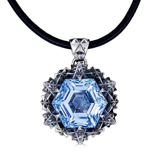 Thoscene Blue Topaz Silver Pendant
